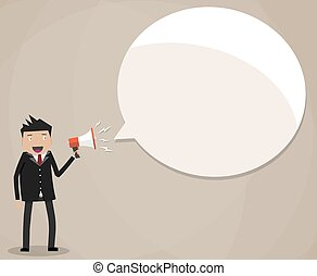 Businessman holding megaphone speech bubble