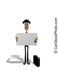 Businessman holding message - Cartoon style businessman...