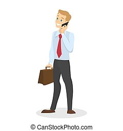Businessman holding mobile phone in hand and chat