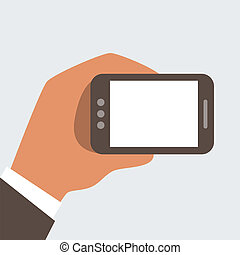 Businessman holding mobile phone wi