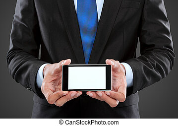 businessman holding mobile smart phone with blank screen