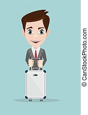 businessman holding modern suitcase with wheels.