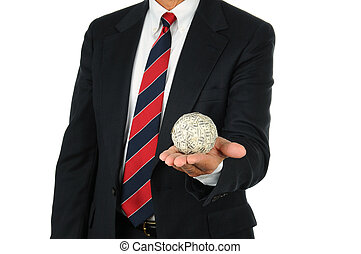 Businessman Holding Money Ball