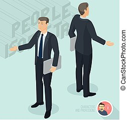 Businessman holding notebook and communicating. Front and back view.