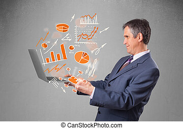 Businessman holding notebook with graphs and statistics -...