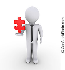 Businessman holding on air puzzle piece - 3d businessman is ...