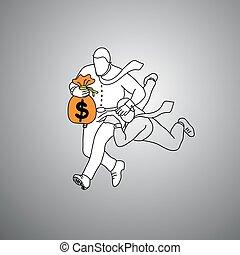 businessman holding orange bag of money and other tackling...