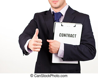 businessman holding out a contract