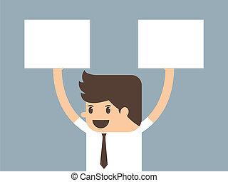 businessman holding paper vector