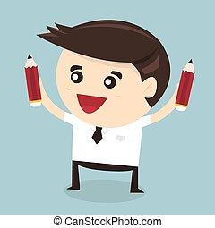 Businessman holding pencil. Flat design