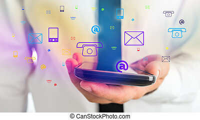 Businessman Holding Phone for Contact Concept - Close up...