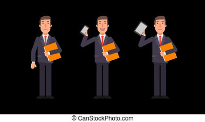 Businessman holding phone tablet folder and showing thumbs up. Alpha channel.