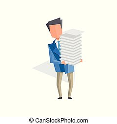 Businessman holding pile of office papers and documents,...