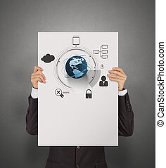 businessman holding poster of  social network structure as conce