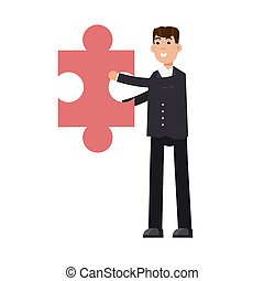 Businessman holding puzzle. Problem and solution concept. Vector illustration in flat style