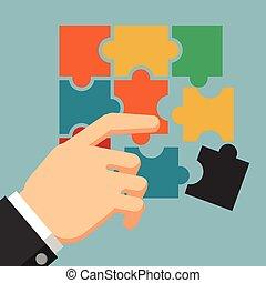 Businessman holding puzzle - Vector Flat Design