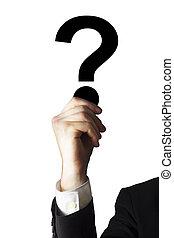 businessman holding question mark