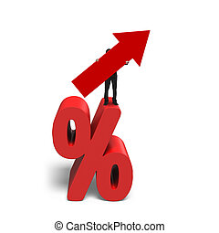 Businessman holding red arrow symbol standing on percentage sign