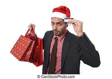 businessman holding shopping bags