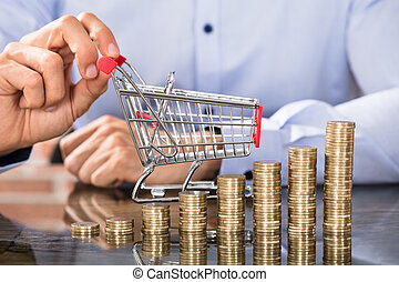 Businessman Holding Shopping Trolley With Coin Stack
