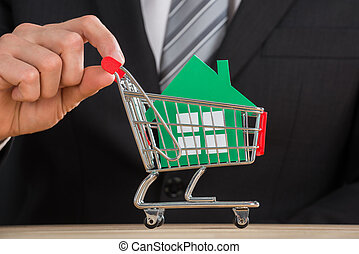 Businessman Holding Shopping Trolley With Green Paper House