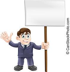 Businessman holding sign