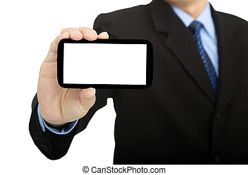businessman holding smart phone and isolated on white