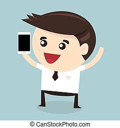 Businessman holding smart phone, flat design