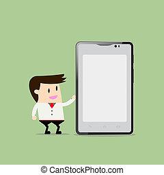 Businessman holding smartphone. Flat design business concept cartoon illustration.