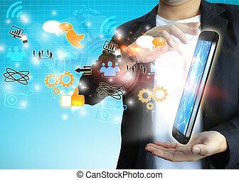 businessman holding social media concept.