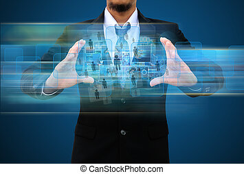 businessman holding social network