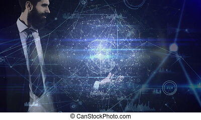 Businessman holding spinning globe surrounded by data connections