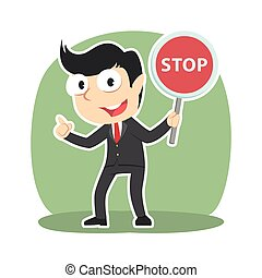 Businessman holding stop sign