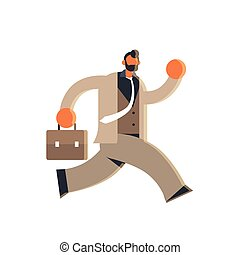 businessman holding suitcase overworked business man running...