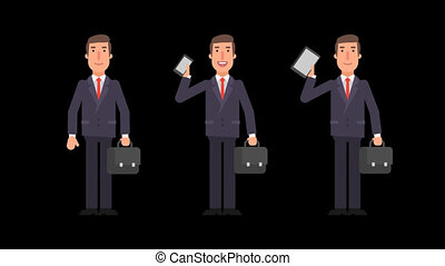 Businessman holding suitcase phone tablet and showing thumbs up. Alpha channel.