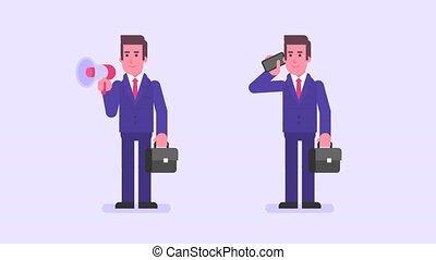 Businessman holding suitcase speaks in megaphone speaks in...