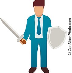 Businessman holding sword and shield. Business defending, hero, knight concept. Vector illustration.