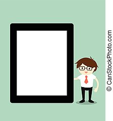 Businessman holding tablet.