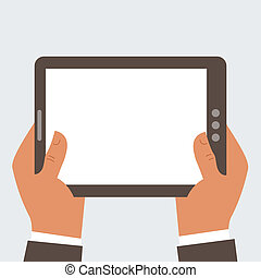 Businessman holding tablet computer with blank screen