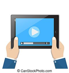 Businessman holding tablet computer with video player on the screen in the human hands, vector illustration