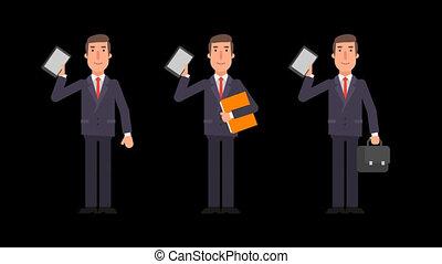 Businessman holding tablet folder and suitcase. Alpha channel.