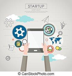 Businessman holding tablet for startup