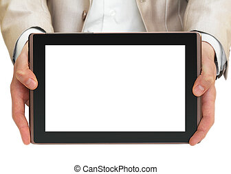 Businessman holding tablet pc with white screen