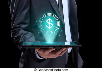 Businessman holding tablet with a projected on-screen icon online trading dollar. business Internet concept.