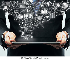 Online business concept - Businessman holding tablet with...