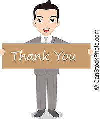 Businessman holding Thank you note