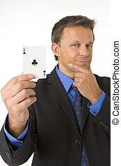 Businessman Holding The Ace Of Clubs