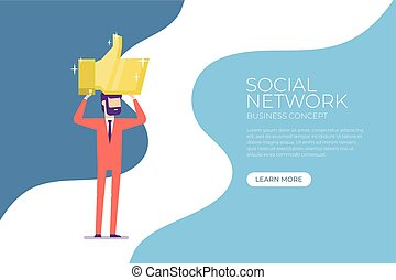 Businessman holding the gold thumbs up sign over head. Social network banner concept.