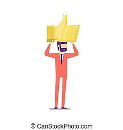 Businessman holding the gold thumbs up sign over head. Social network concept.