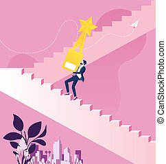 Businessman holding the gold trophy climbing stairs to success
